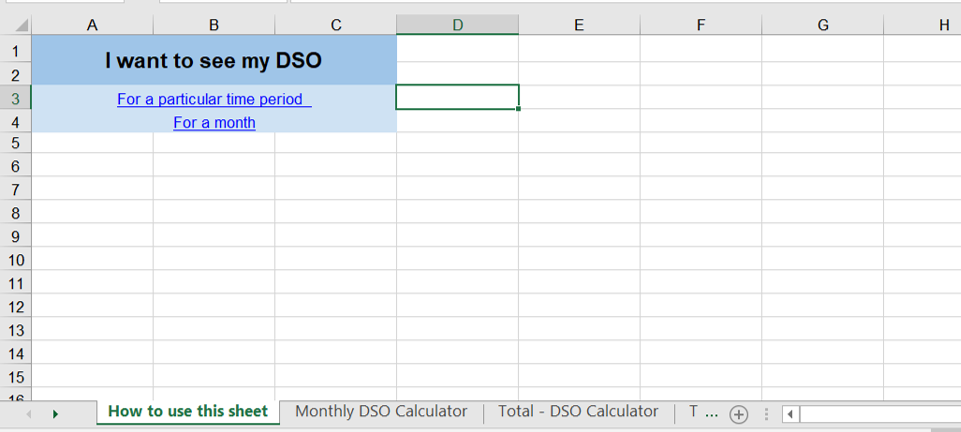 Steps to calculate DSO in excel