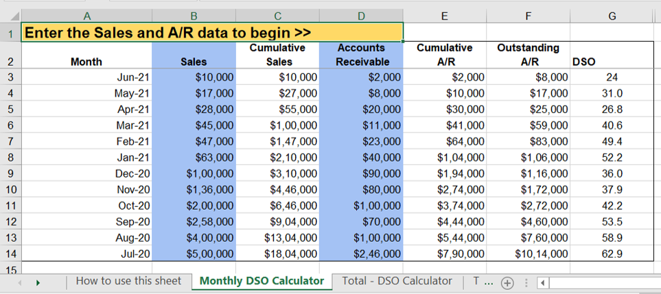 calculate days sales outstanding in excel
