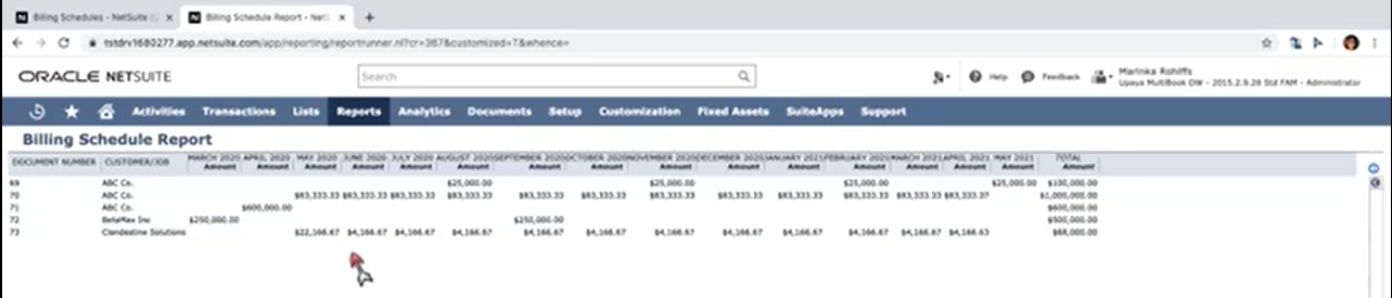 How to create a billing schedule report in NetSuite?